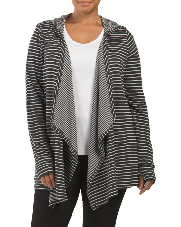 Plus Stripe Shark Bite Cardigan