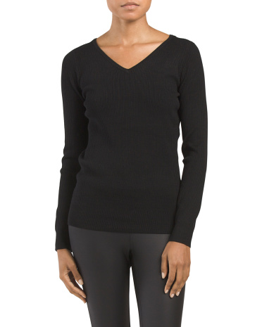 Long Sleeve V Neck Ribbed Top