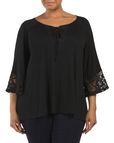 Plus Bell Sleeve Top With Lace Detail