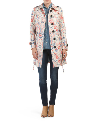 Printed Floral Trench Coat