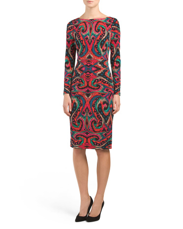 Ikat Print Jersey Sheath Dress
