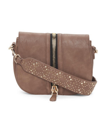 Zipper Detail Saddle Bag With Studded Strap