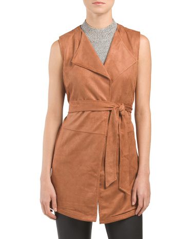 Faux Suede Belted Vest