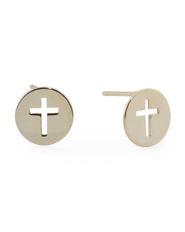 Made In Turkey 14k Gold Cross Disk Cut Out Earrings