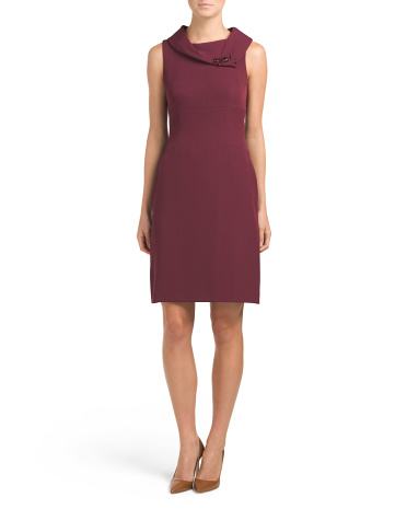Envelope Neck With Brooch Sheath Dress