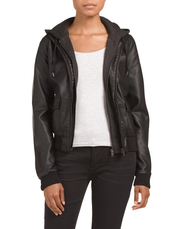 Juniors Hooded Faux Leather Jacket