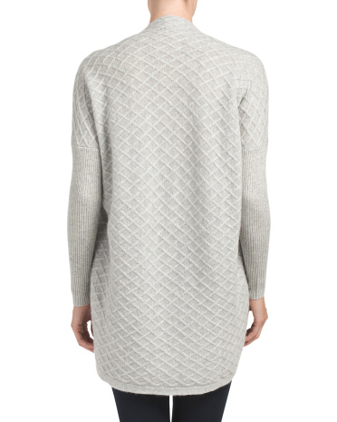 Cable Back Hi Lo Cashmere Sweater