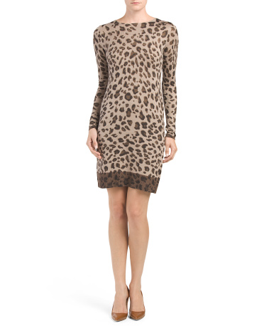 Animal Printed Sweater Dress