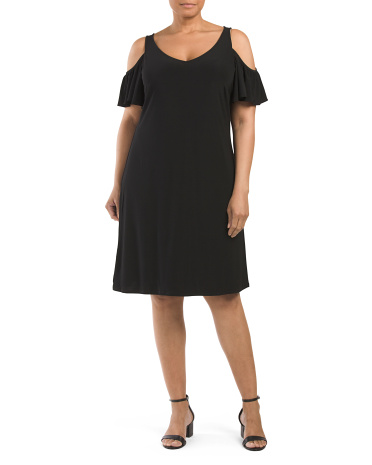 Plus Made In USA V-Neck Cold Shoulder Dress