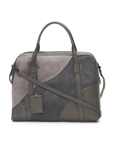 Made In Italy Mixed Media Leather Satchel