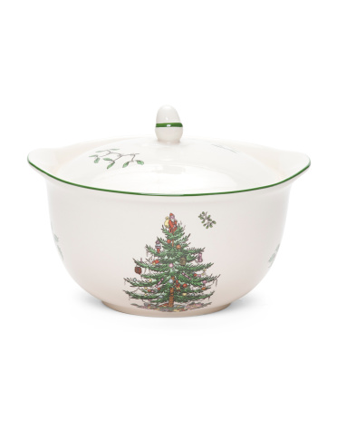 Christmas Tree Covered Casserole Dish