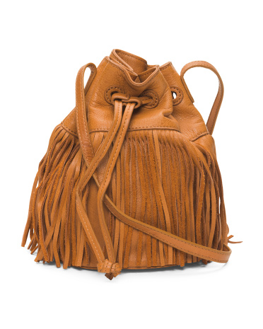 Pebbled Leather Fringe Bucket Bag
