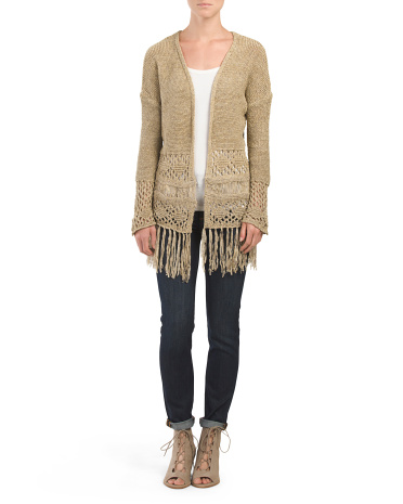 Tape Yarn Cardigan With Fringe