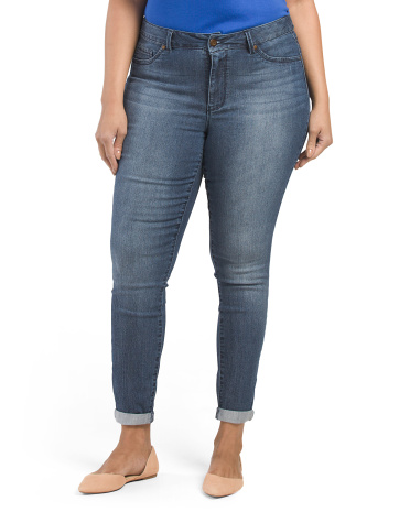 Plus Baby Rolled Cuff Skinny Jeans