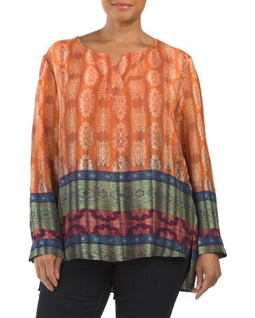 Plus Printed Split Neck Hi Lo Top