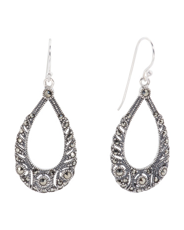 Sterling Silver And Marcasite Open Drop Earrings