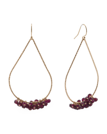 Made In USA 14k Gold Filled Garnet Drop Earrings