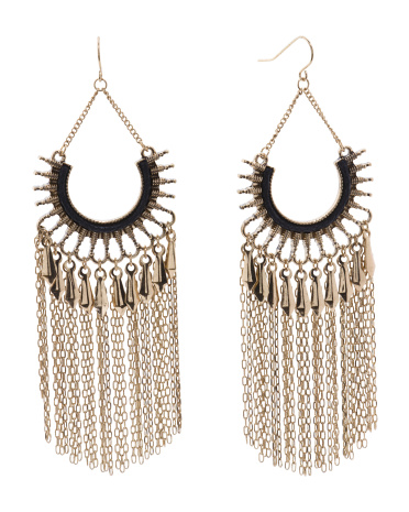 Chain Fringe Statement Earrings In Gold Tone