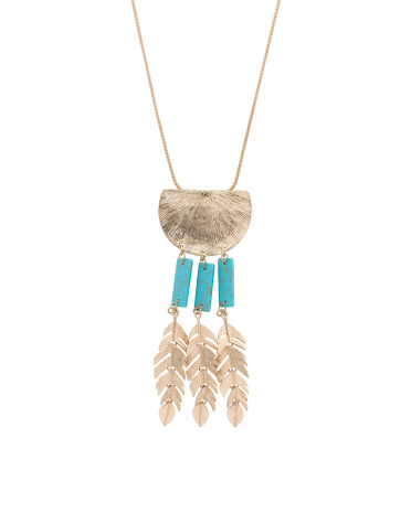 Dyed Howlite Leaf Accent Long Statement Necklace