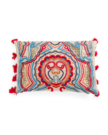 Made In India 14x22 Embroidered Pillow