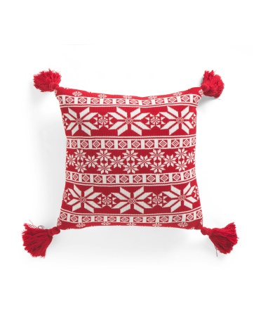 20x20 Snowflake Knit Pillow With Tassels