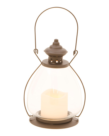 10in Hand Blown Glass LED Lantern