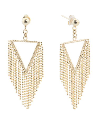 Gold Plated Sterling Silver Fringe Chain Earrings
