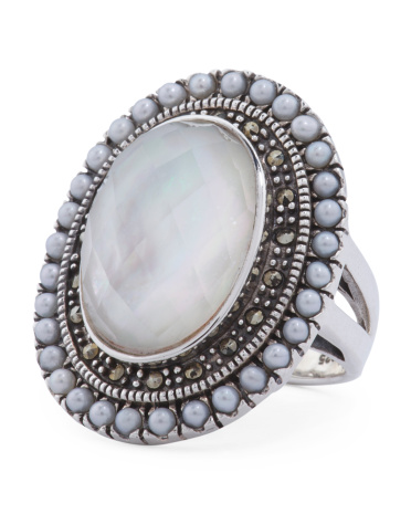 Made In Thailand Sterling Silver Mother Of Pearl Doublet And Marcasite Ring