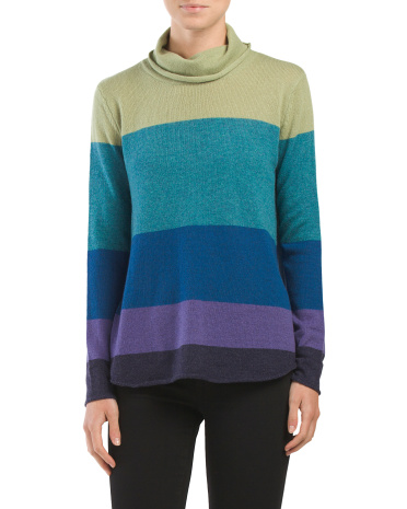 Cashmere Colorblock Cowl Neck Sweater