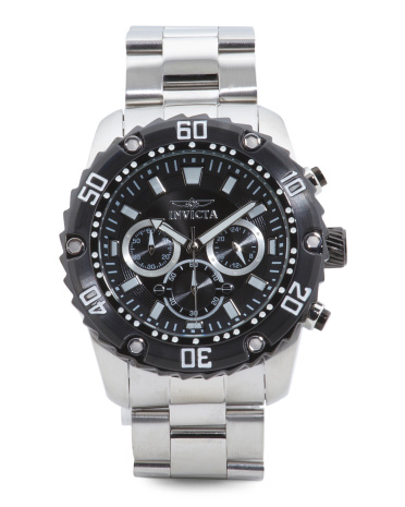 Men's Pro Diver Chronograph Bracelet Watch With Black Bezel
