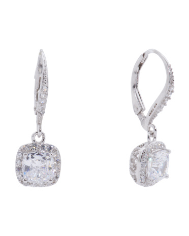 Sterling Silver 6mm Cushion Cut Cubic Zirconia Halo Drop Earrings