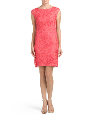 Lace Cap Sleeve Soutache Dress