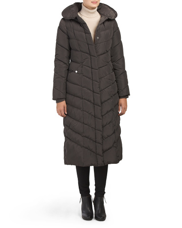 Chevron Pillow Collar Maxi Puffer Coat