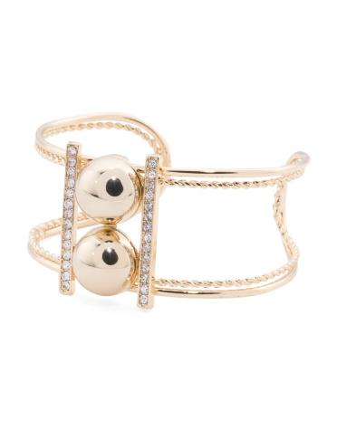 Crystal Embellished Textured Open Cuff Bracelet In Gold Tone