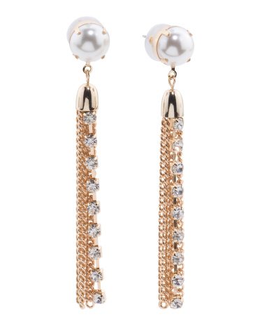 Pearl Duster Statement Earrings With Crystal Accents