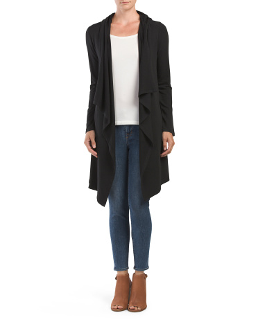 Long Knit Hooded Anorak Cardigan