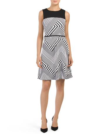 Printed Geometric Stripe Dress