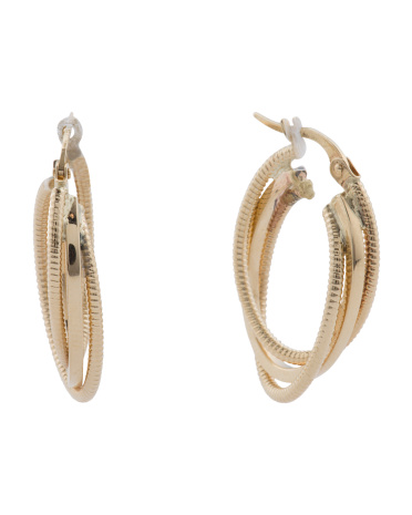 Made In Italy 14k Gold Textured Oval Hoop Earrings