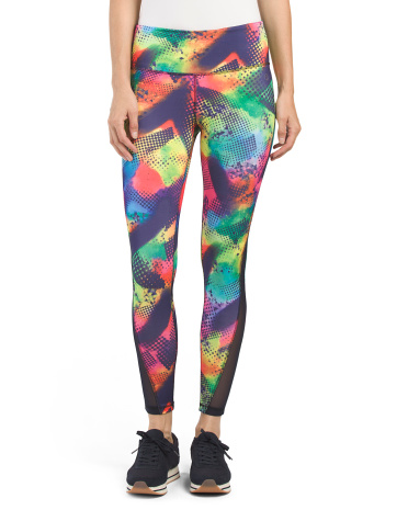 Print Leggings With Mesh Inserts