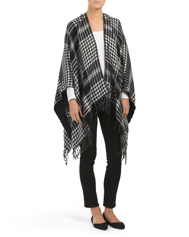 Houndstooth Reversible Fringed Ruana