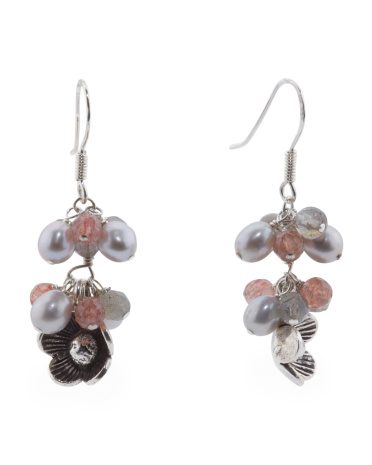 Made In USA Sterling Silver Grey Pearl Flower Drop Earrings