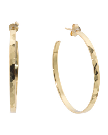 Gold Plated Sterling Silver Hammered Hoop Earrings
