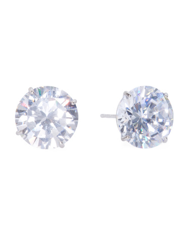 Made In USA 14k White Gold 10mm Cubic Zirconia Stud Earrings