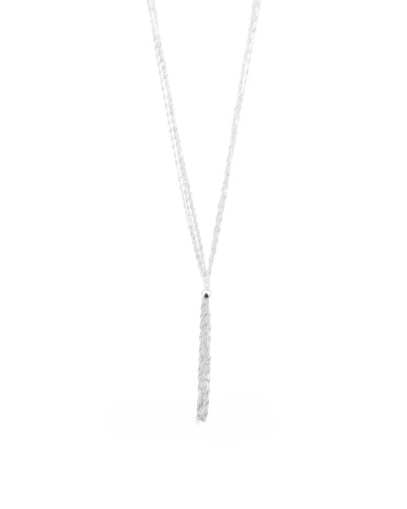 Made In Italy Sterling Silver 4 Strand Tassel Necklace