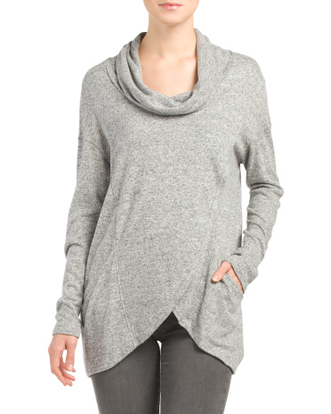 Made In Usa Front Wrap Cowl Neck Top