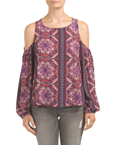 Juniors Printed Cold Shoulder Top