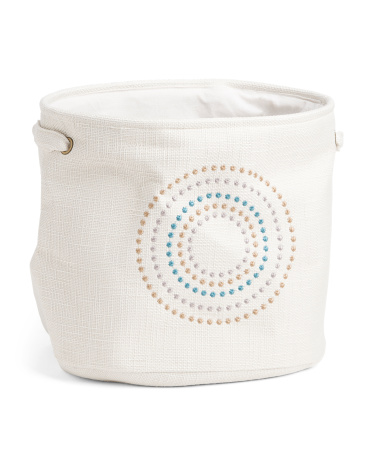 Large Circle Embroidery Fabric Storage Bin