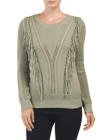 Fringed Pointelle Sweater
