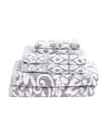 6pc Garden Scroll Towel Set