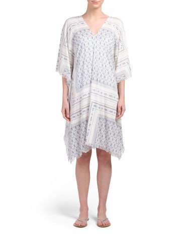 Scarf Print Caftan Cover-Up